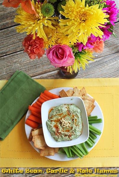White Bean Garlic Kale Hummus | 2CookinMamas