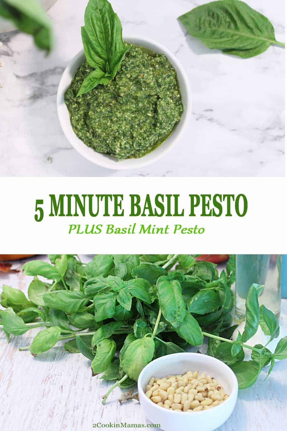 5 Minute Basil Pesto | 2 Cookin Mamas When there's plenty of basil, make a delicious basil pesto or change it up with a bit of mint for a Basil Mint Pesto. Perfect for using on pizza, pasta, in lieu of mayo on sandwiches and salads or take your corn on the cob up a notch. #pesto #basil #mint #pinenuts #recipe #homemade #healthy