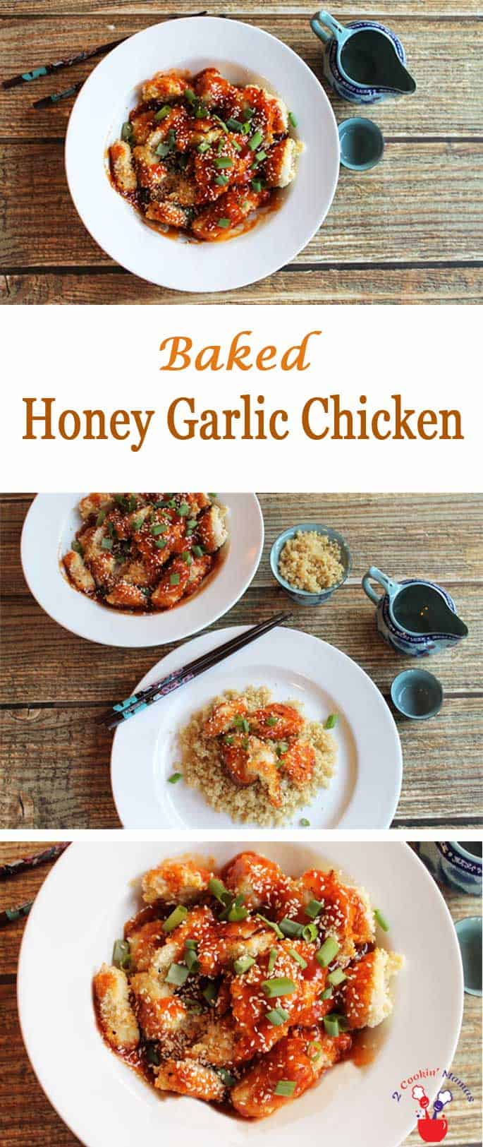 "Baked Honey Garlic Chicken | 2 Cookin Mamas Get your crunchy along with your healthy with this baked version of an Asian favorite ""Honey Garlic Chicken""."