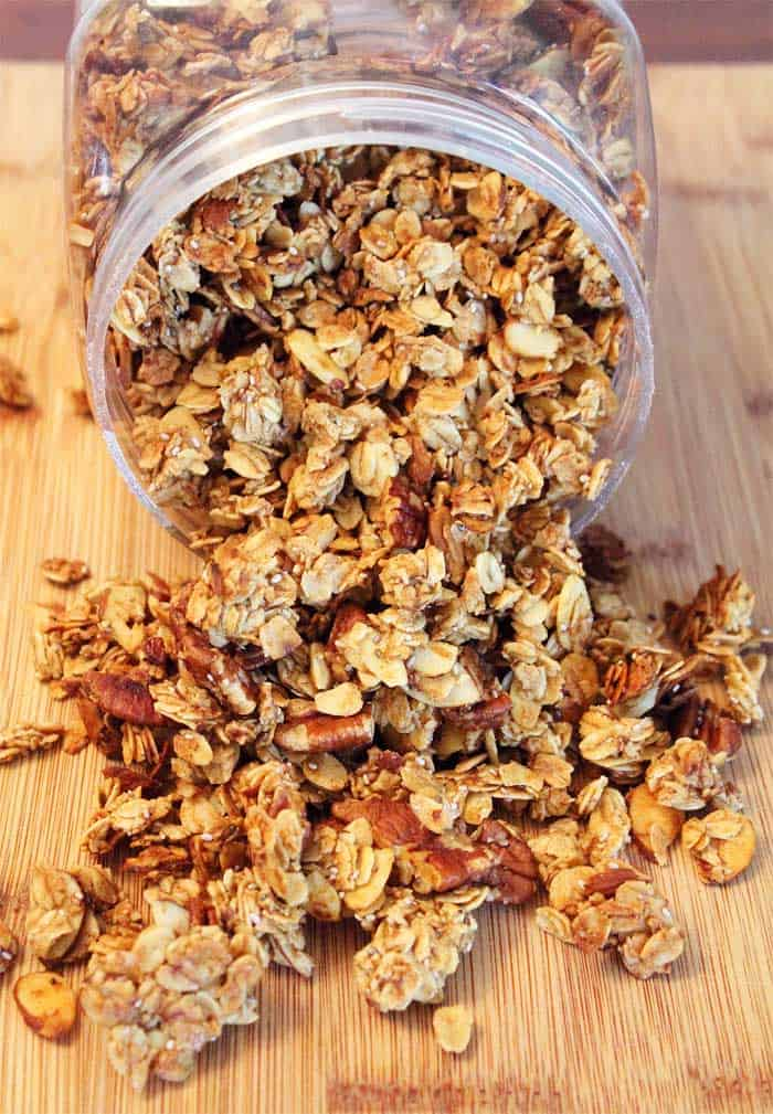 Banana Nut Granola spilling out