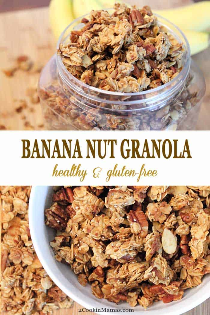 Banana Nut Granola | 2 Cookin Mamas Make your own healthy granola, it's so easy! Homemade Banana Nut Granola combines rolled oats with bananas, nuts, chia seeds & cinnamon and sweetened with palm sugar and honey for a delicious snack. It's even great for breakfast as a topping for yogurt or sprinkle on some ice cream for a yummy dessert. #granola #healthysnack #bananas #nuts #chiaseeds #breakfast #dessert #recipe #homemade