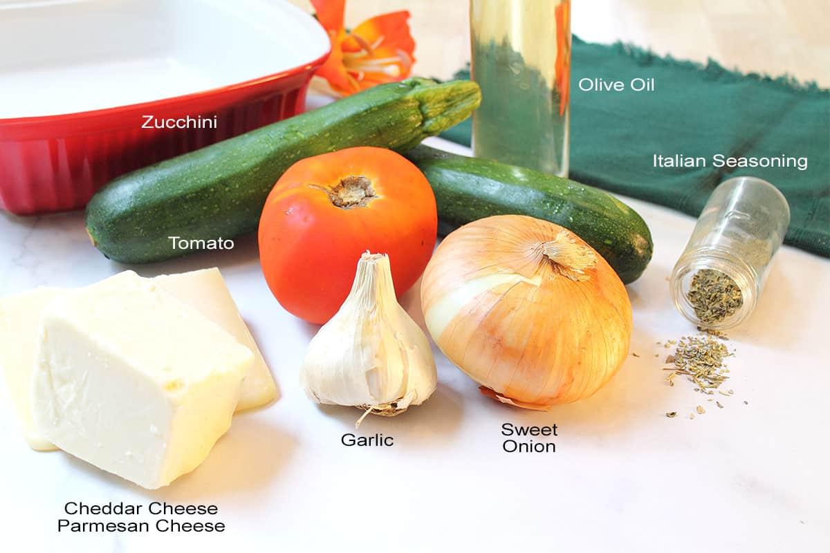 Photo of ingredients on white table with labels.