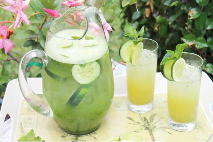 Pitcher and two filled glasses on palm tree tray.