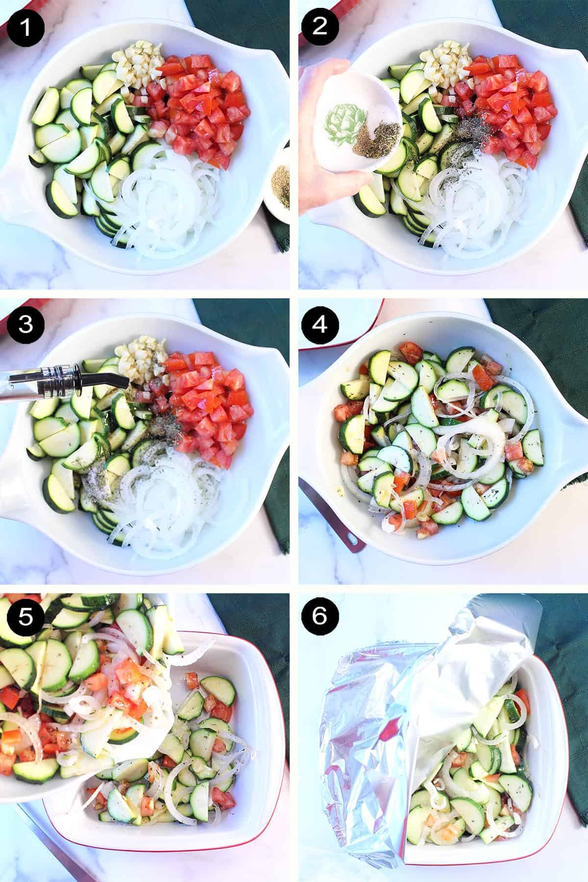Showing easy prep steps 1-6 for zucchini casserole.