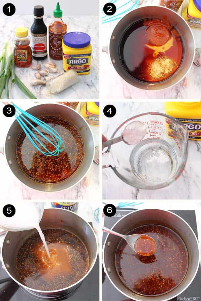 Making honey garlic sauce steps 1-6