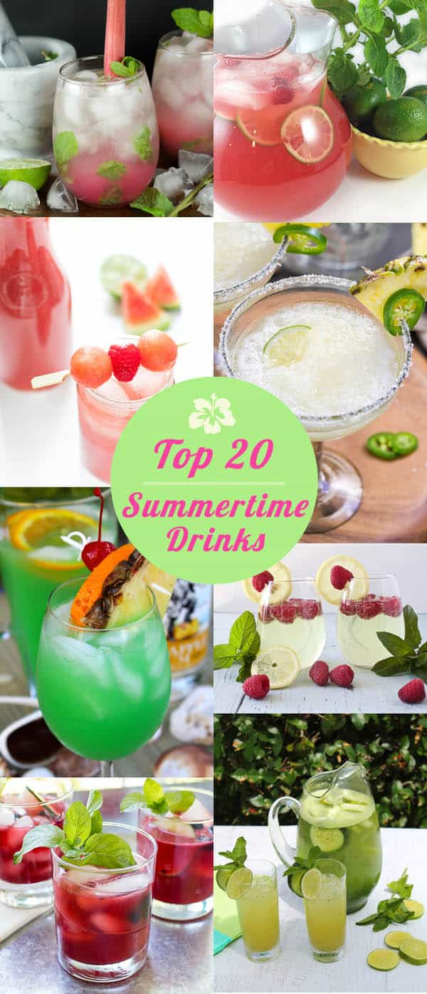 A collection of the top 20 summertime drinks from some of my best food blogging friends. Everything from refreshing waters to lemonades to amazing cocktails to help you beat the heat all summer long. #summerdrinks #summercocktails #cocktails #water #drinks #lemonade #sangria #recipes