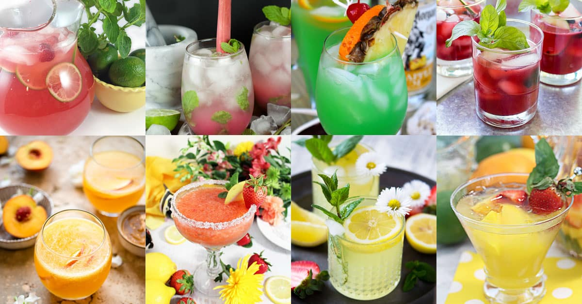 Collage of some of the top 20 summertime drinks listed in the post.