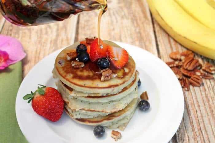 Banana Pancakes with syrup | 2 Cookin Mamas