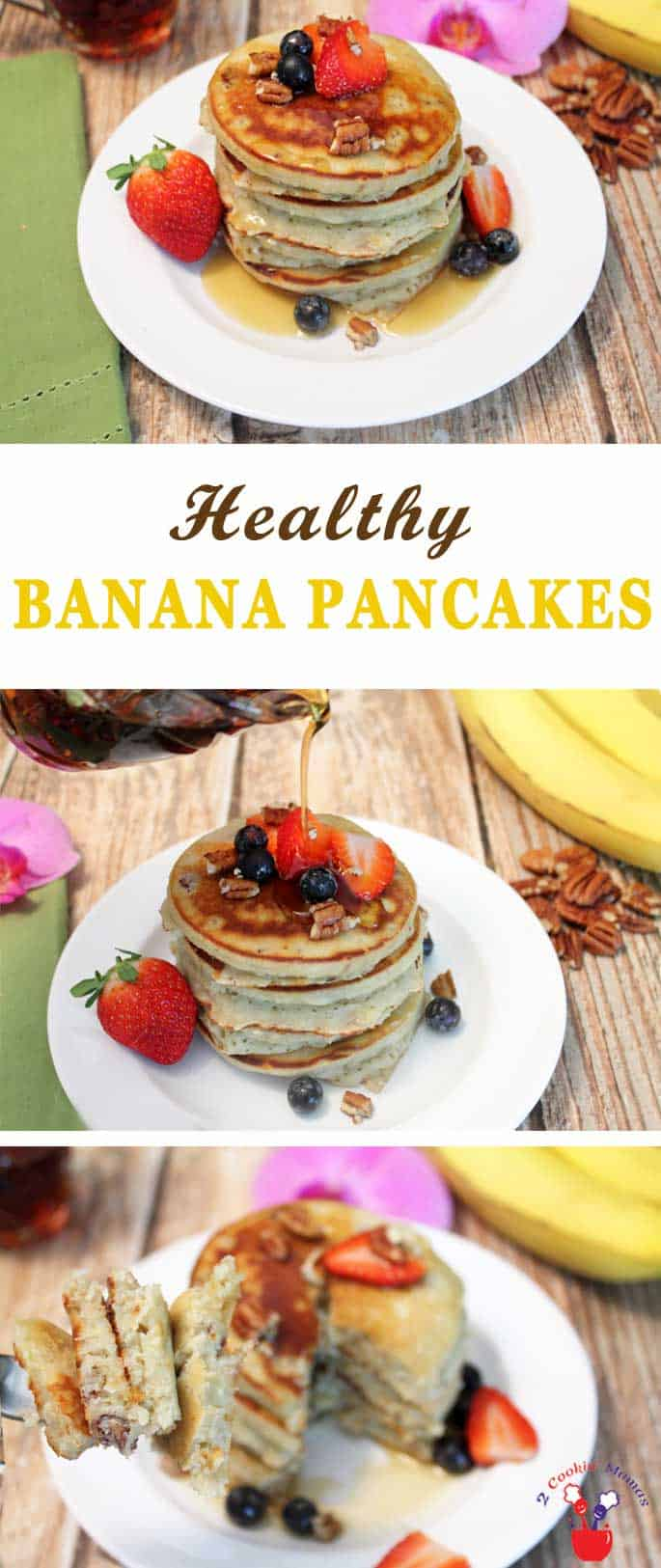 Banana Pancakes | 2 Cookin Mamas Delicious, healthy banana pancakes that won't weigh you down. They're easy to make and full of protein, fiber and potassium to start your day off right. #recipe #pancakes #breakfast #healthy