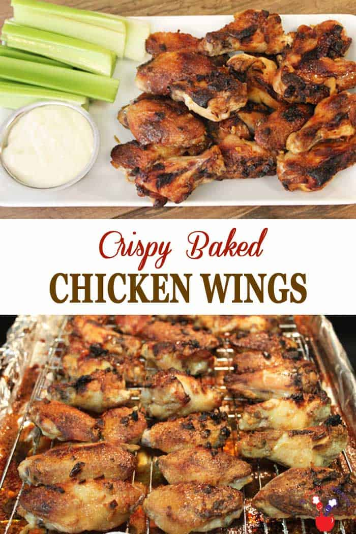 Crispy Baked Chicken Wings | 2 Cookin Mamas Here's a healthy way to get your chicken wing fix - Baked Chicken Wings. Yep, baked not fried, yet delicious and crispy! Then top them off with a spicy sriracha garlic sauce. Drool! #appetizer #chickenwings #srirachasauce