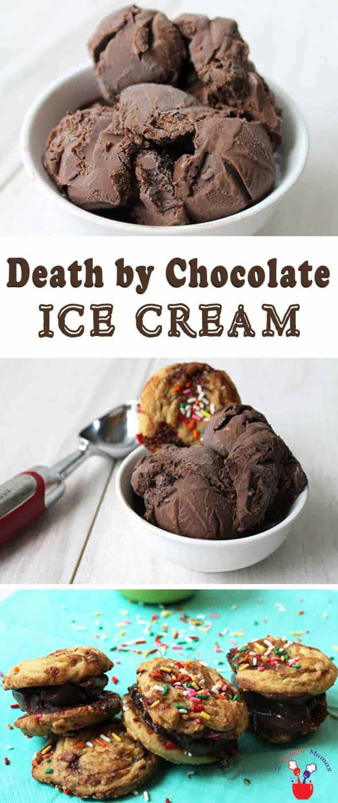 Death by Chocolate Ice Cream | 2 Cookin Mamas Calling all chocolate lovers! This decadent homemade chocolate ice cream will have you in chocolate heaven. Its rich, creamy and over-the-top delicious!