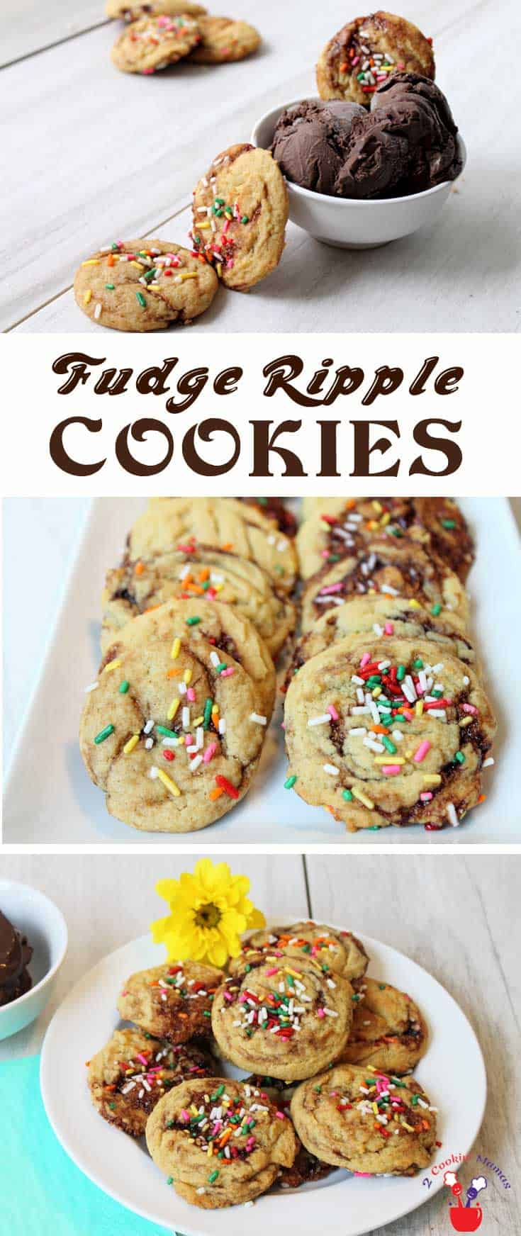 Fudge Ripple Cookies | 2 Cookin Mamas These oh-so-delicious Fudge Ripple Cookies are soft, rich and chewy. They're fun to make, drizzled with fudge & colorful sprinkles and even more fun to eat! #recipe