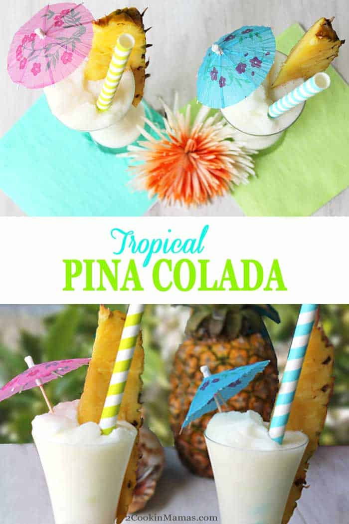 Pina Colada 1 | 2 Cookin Mamas Whip up this easy, best ever Pina Colada for your next get together. Coconut, pineapple, rum & a touch of lime make this a summer cocktail guests rave about - that's how good it is! #cocktail #summercocktail #drink #rum #pineapple #coconut #recipe