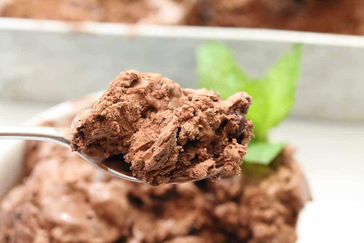 Spoonful of dark chocolate ice cream over bowl.