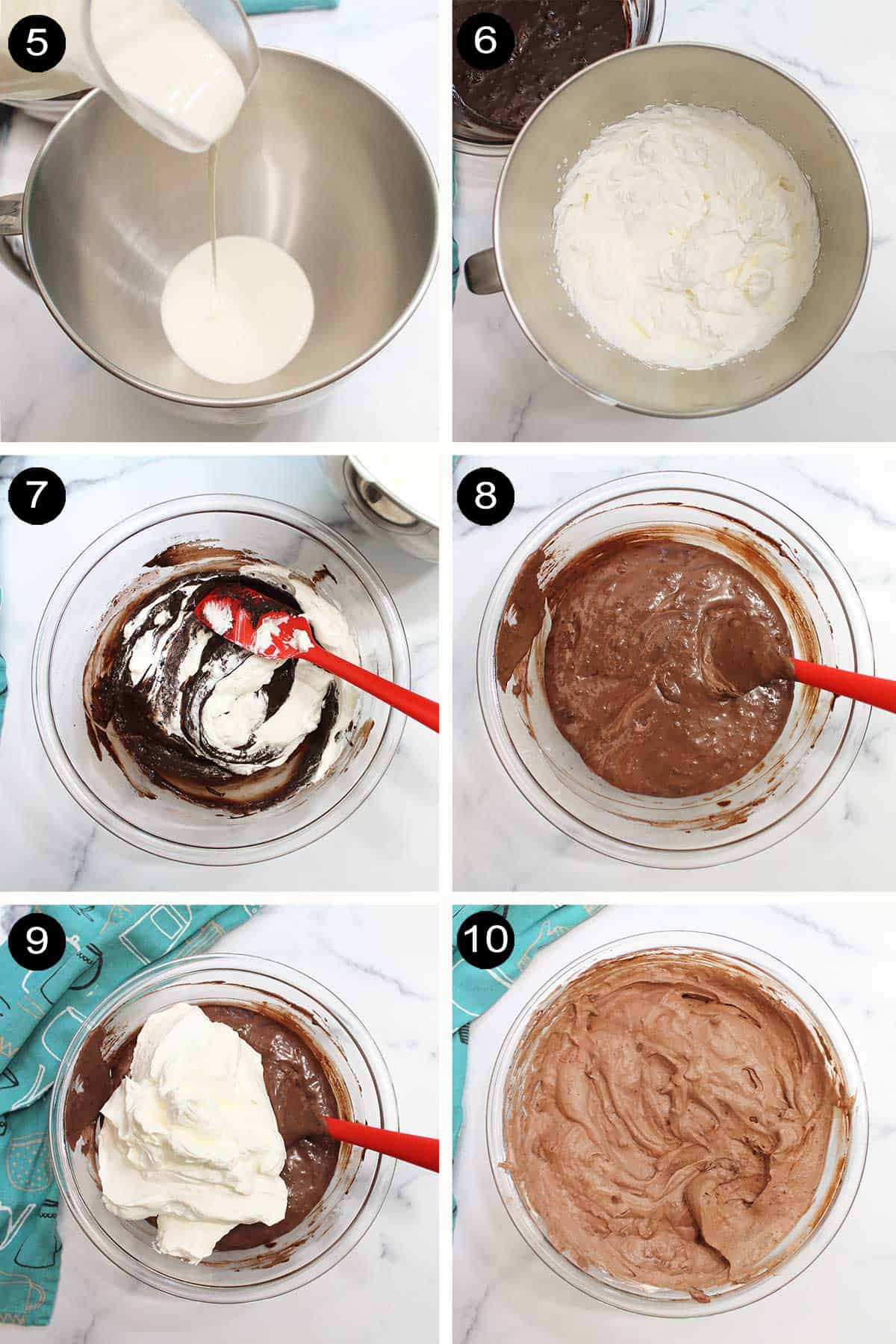 Whipped cream steps and adding to chocolate mixture.