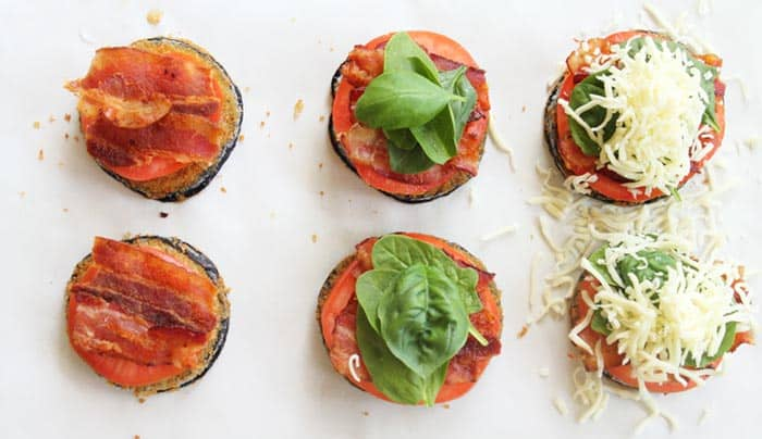 BLT Stacks with eggplant prep | 2 Cookin Mamas