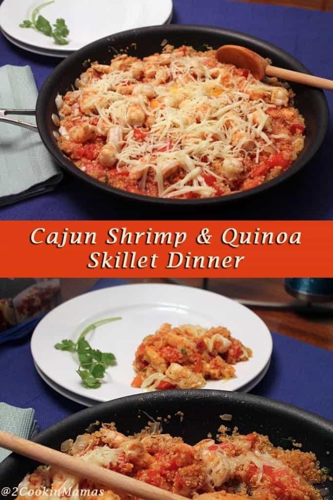 Cajun Shrimp and Quinoa Skillet Dinner main | 2CookinMamas