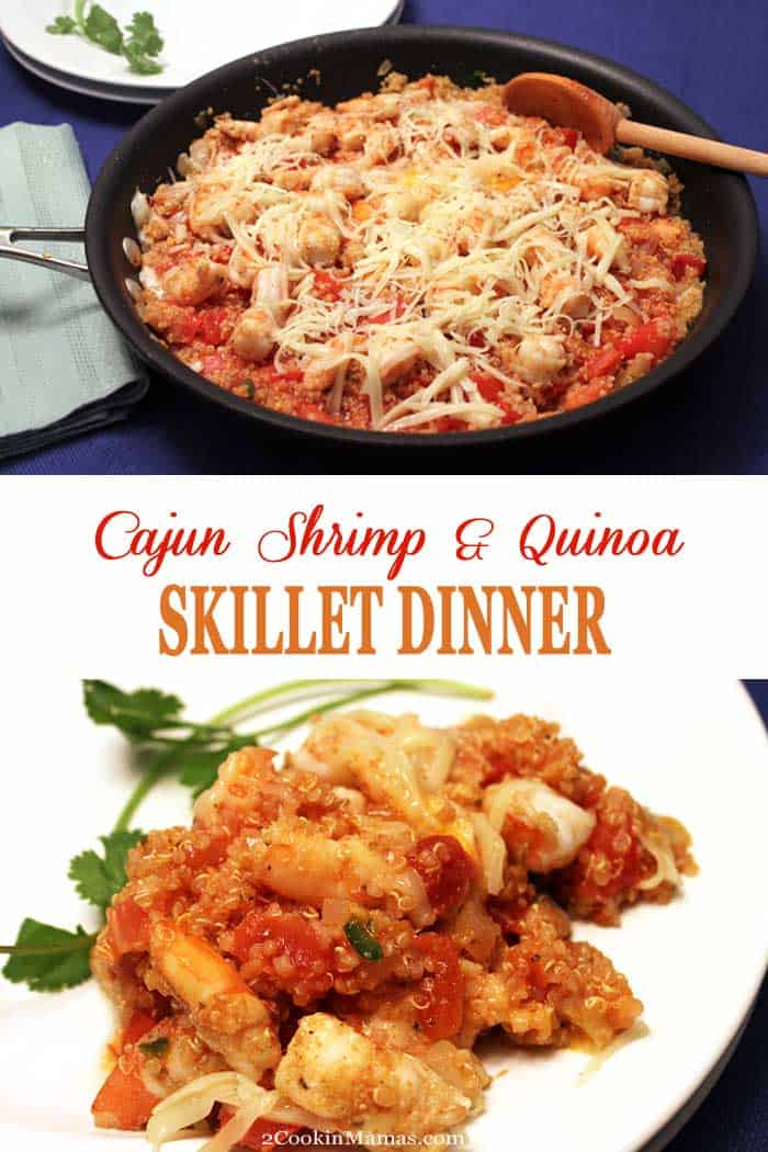 Cajun Shrimp and Quinoa Skillet Dinner | 2 Cookin Mamas This quick, healthy cajun shrimp and quinoa skillet is perfect for busy weeknights. Spicy shrimp, tomatoes, quinoa, cheese & a touch of heat, all cooked in one skillet with little clean up! #shrimp #quinoa #onepandinner #dinner #recipe #skilletdinner