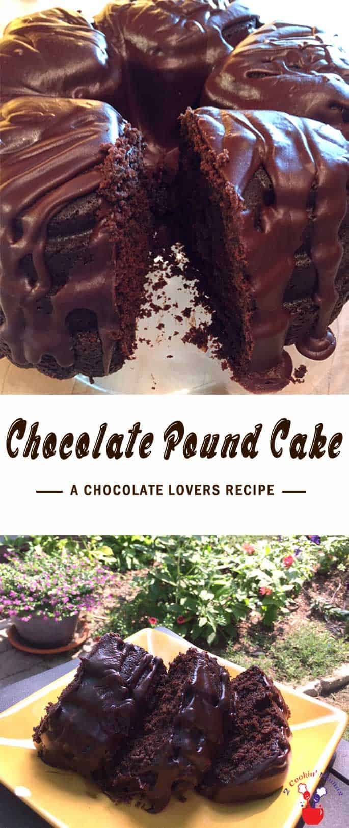 Calling all chocolate lovers! An easy to make, deliciously moist chocolate pound cake topped with even more deep rich chocolate! #chocolatepoundcake #poundcake #chocolate #dessert