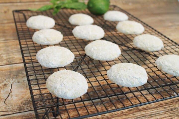 Sugar coated cookies on wire rack.