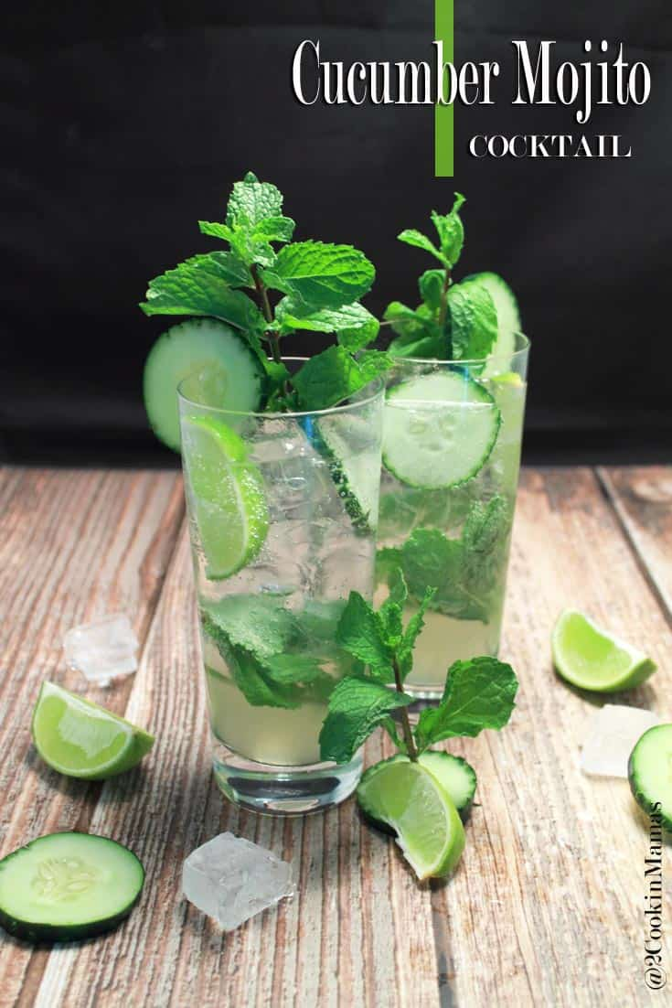 Chill with this easy 5-ingredient cucumber mojito. The perfect cocktail with a subtle taste of cucumber and the bright flavor of fresh limes. #mojito #cucumbercocktail #vodkacocktail #cucumbervodka