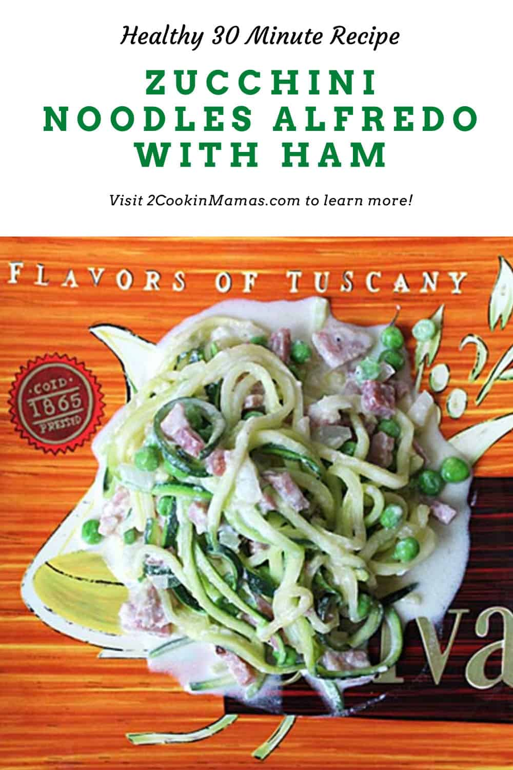 Skillet Zucchini Noodles in Cream Sauce with Ham