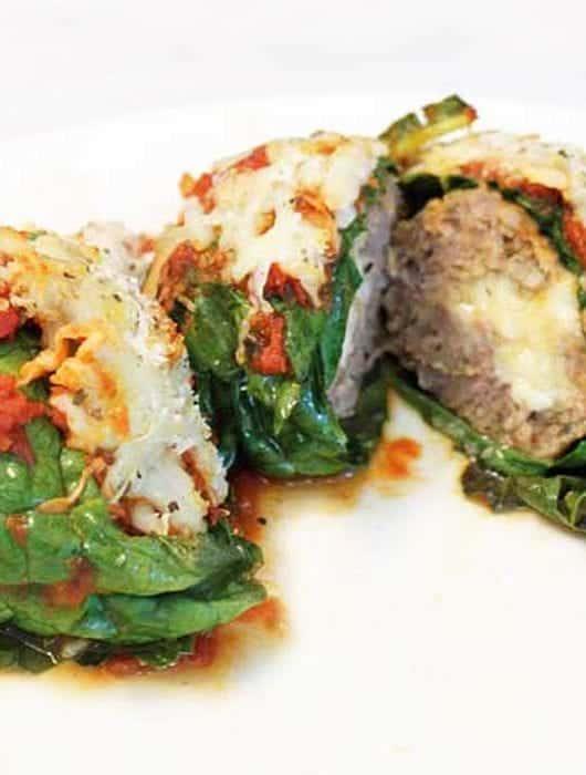 Kale Wrapped Mozzarella Stuffed Meatballs square | 2 Cookin Mamas