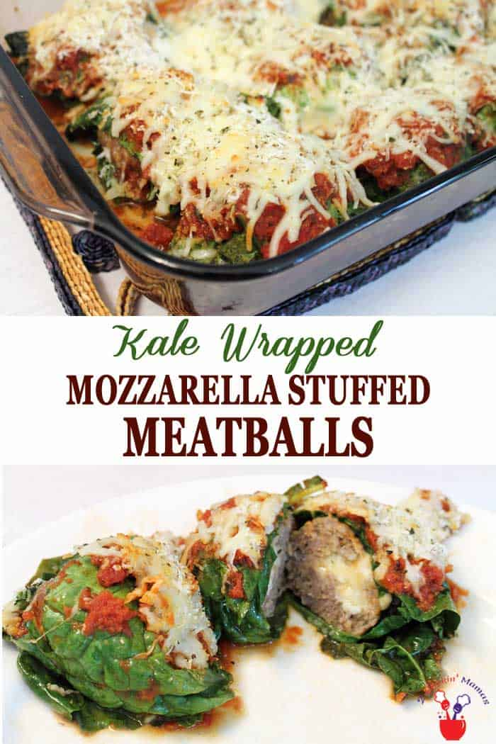 Kale Wrapped Mozzarella Stuffed Meatballs | 2 Cookin Mamas Nothing is more Italian than meatballs and these little mozzarella stuffed meatballs, with a combination of beef and pork, are not only stuffed with cheese but wrapped in kale. A cheesy delight with a little bit of healthy! #meatballs #dinner #stuffedmeatballs #kale #recipe