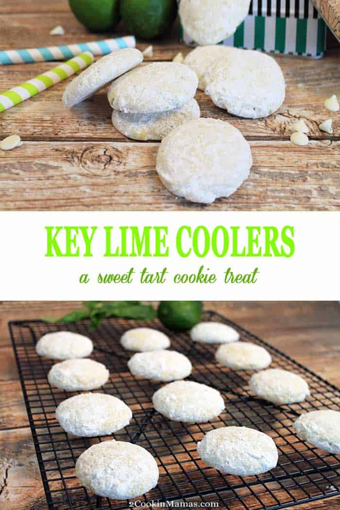 Key Lime Coolers are light sugar-coated cookies, perfect for picnics & after school treats. Adults & kids alike will love the sweet-tart combination! #cookies #keylime #summertreat #recipe