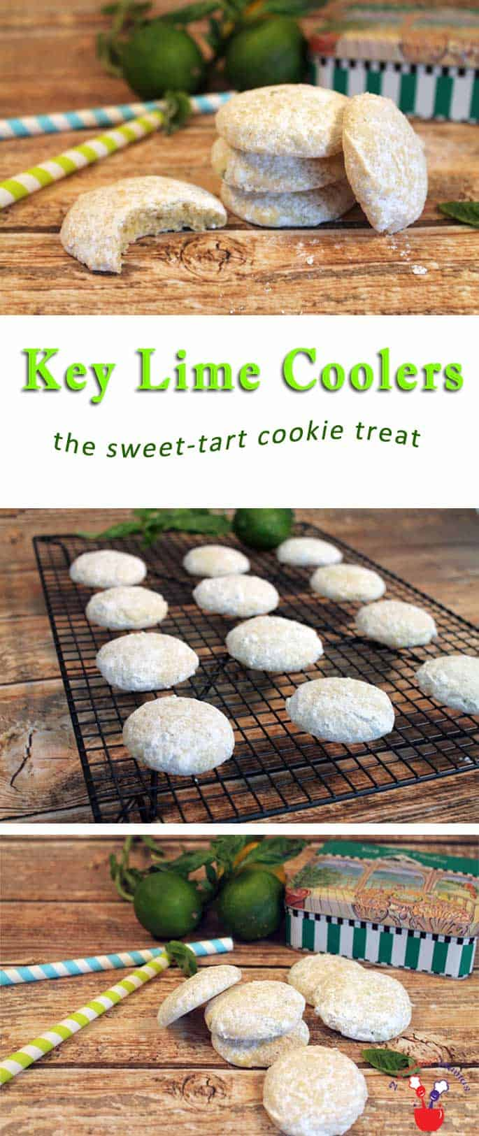 Key Lime Coolers | 2 Cookin Mamas Key Lime Coolers are light sugar-coated cookies, perfect for picnics & after school treats. Adults & kids alike will love the sweet-tart combination!