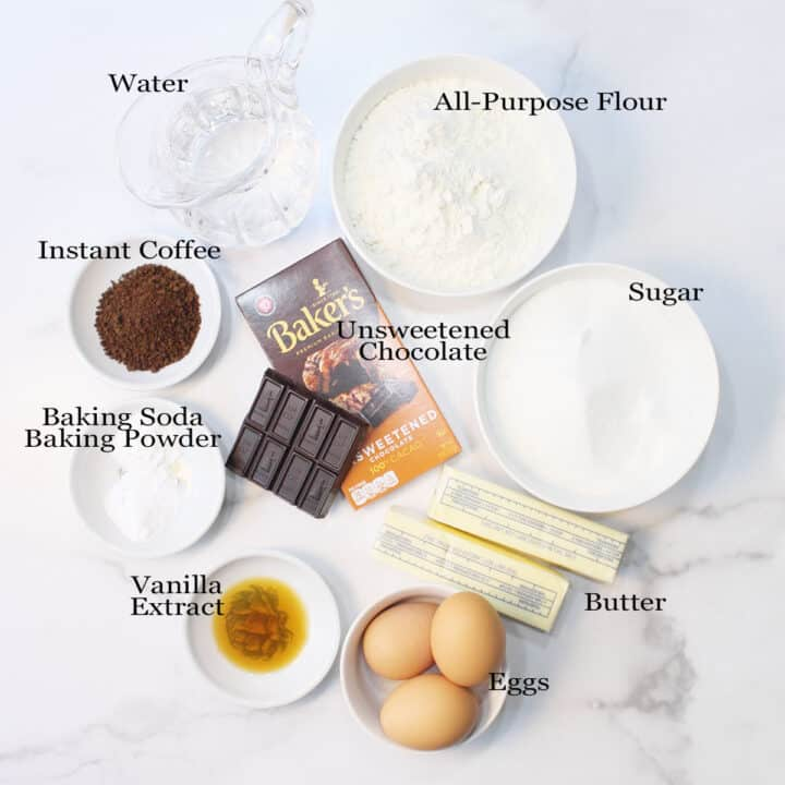Labeled ingredients for Chocolate Pound Cake.