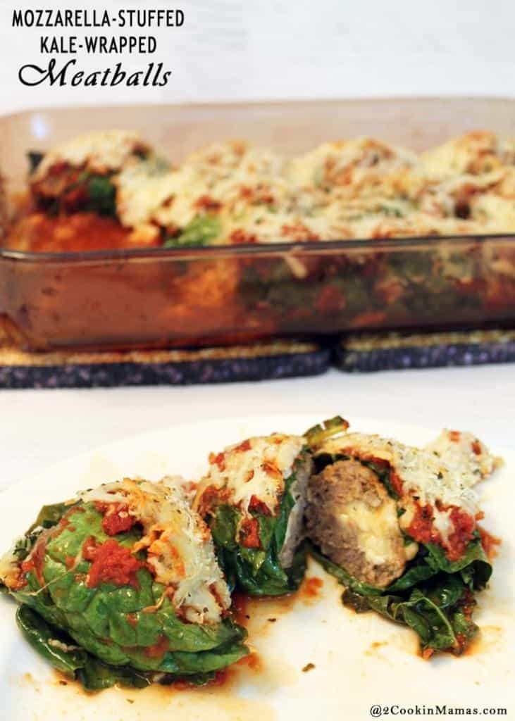Mozzarella Stuffed Kale Wrapped Meatballs | 2CookinMamas