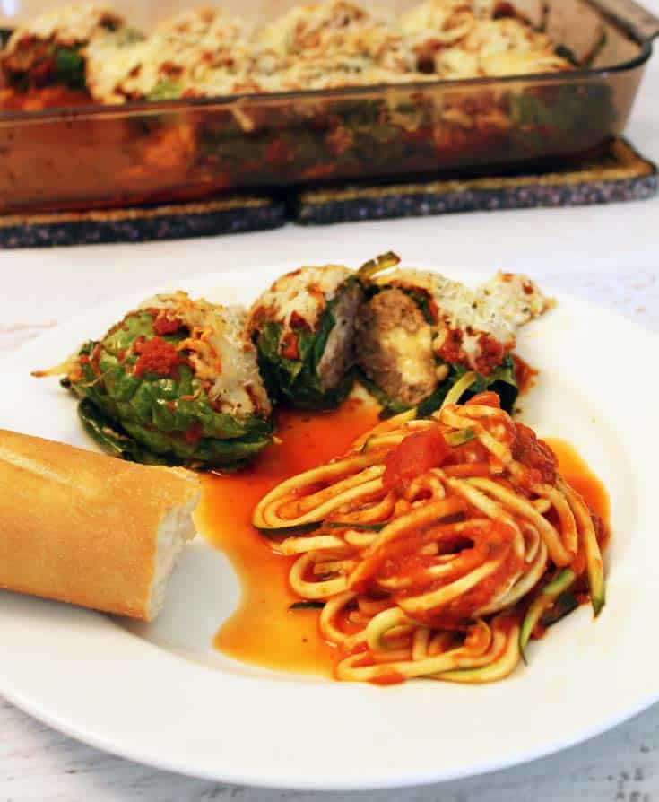 Mozzarella Stuffed Kale Wrapped Meatballs dinner|2CookinMamas