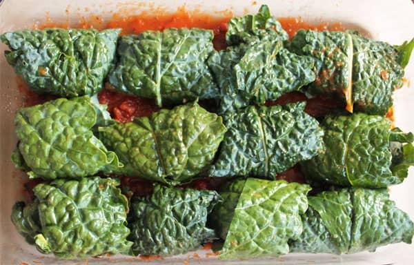 Mozzarella Stuffed Kale Wrapped Meatballs prep 1