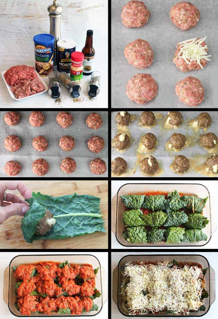Kale Wrapped Mozzarella Stuffed Meatballs prep | 2 Cookin Mamas
