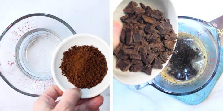 Prep step melting chocolate into coffee.