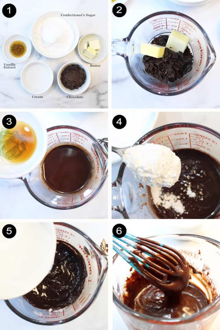Prep steps for chocolate glaze.