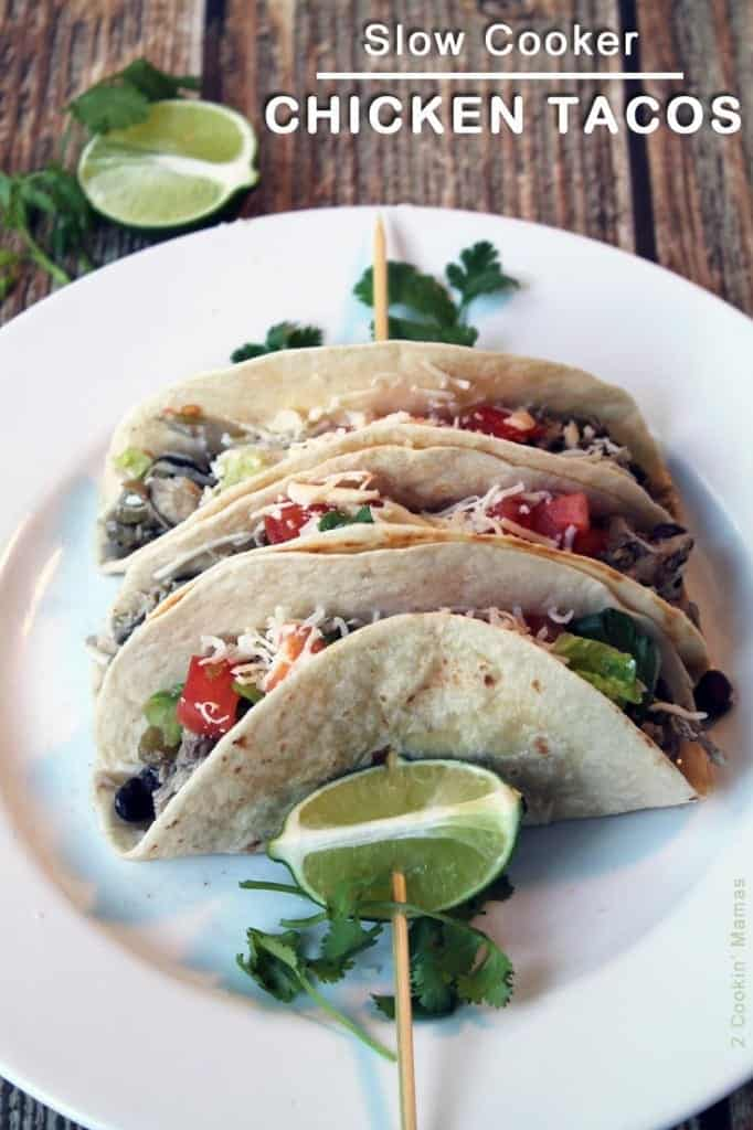 Slow Cooker Chicken Tacos main  2CookinMamas