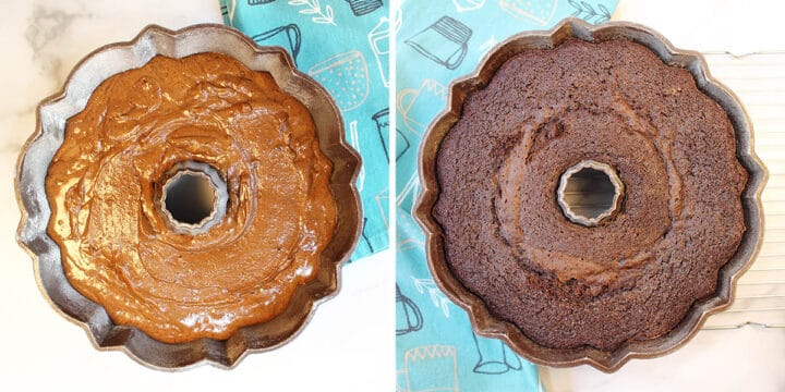Unbaked and Baked cake in bundt pan.