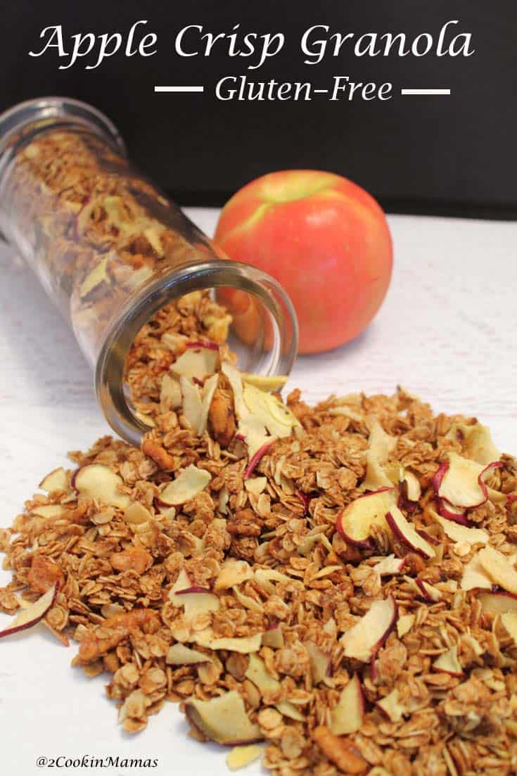 Flavor the season with this apple crisp granola. It\'s easy to make and healthy too! Top your breakfast yogurt or serve as an after school snack. #granola #recipe #falltreat #healthysnack #breakfast #glutenfree