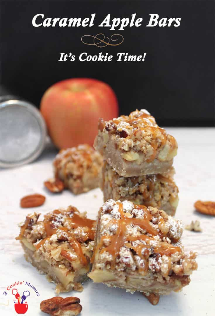 Caramel Apple Bars main   2 CookinMamas Nothing's more perfect for a fall treat than these bars that taste like a little apple pie you can hold in your hand. Topped with caramel makes them over the top delicious! #recipe #dessert #bar cookies