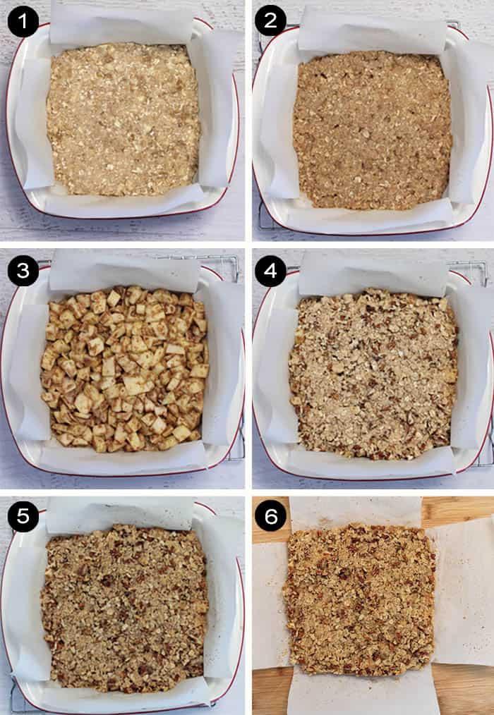 Prep steps for making apple pie bars.