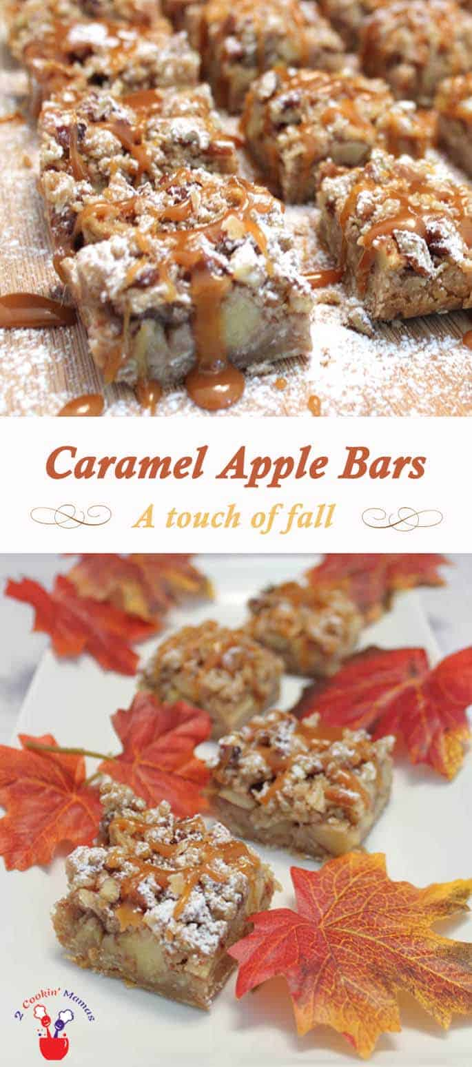 Caramel Apple Bars | 2 CookinMamas A fall treat that's sure to please. A little apple pie that you can hold in your hand with the added touch of caramel to put them over the top. #recipe #dessert #bar cookies