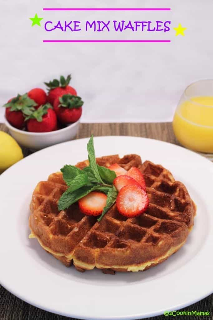 Cake Mix Waffles pin|2CookinMamas