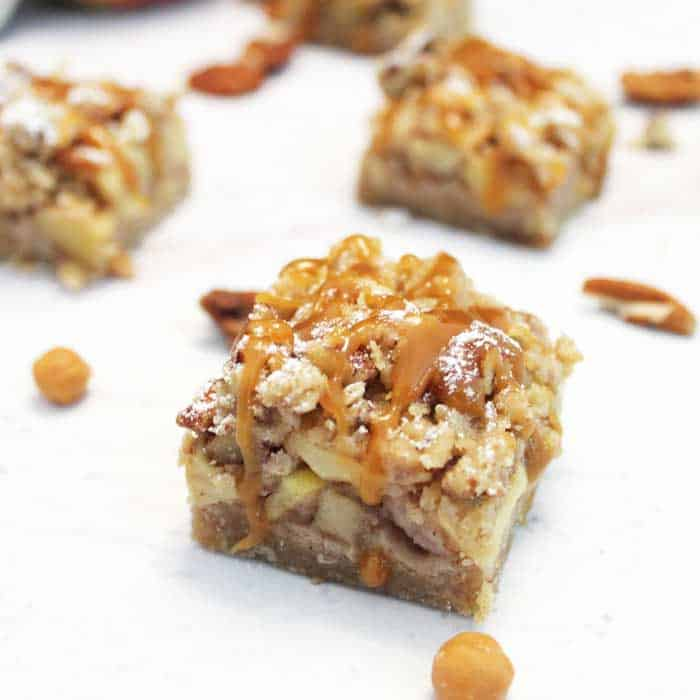 Caramel Apple Bars closeup square