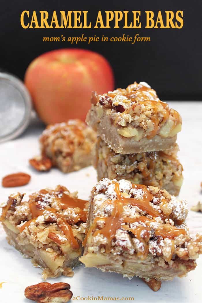 A bar cookie that tastes just like mom\'s apple pie! An oatmeal cookie base, piled high with cinnamon apples, then topped with piles of crumbs and a drizzle of caramel. It\'s the perfect fall recipe for a sweet treat. Don\'t wait! Make it today! #recipe #fall #apples #cookies #bars #dessert #easy #caramel