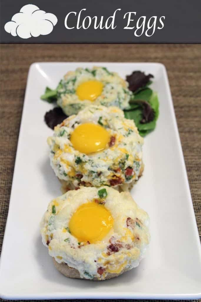 Cloud Eggs | 2 Cookin Mamas Cloud Eggs | 2 Cookin Mamas Whipped egg whites mixed with your favorite breakfast fixins', topped with a yolk, and baked up in less than 10 make this the perfect breakfast. But special enough for guests too! #recipe