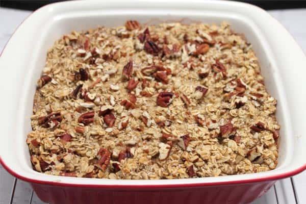 Maple Bacon Oatmeal Casserole baked | 2CookinMamas