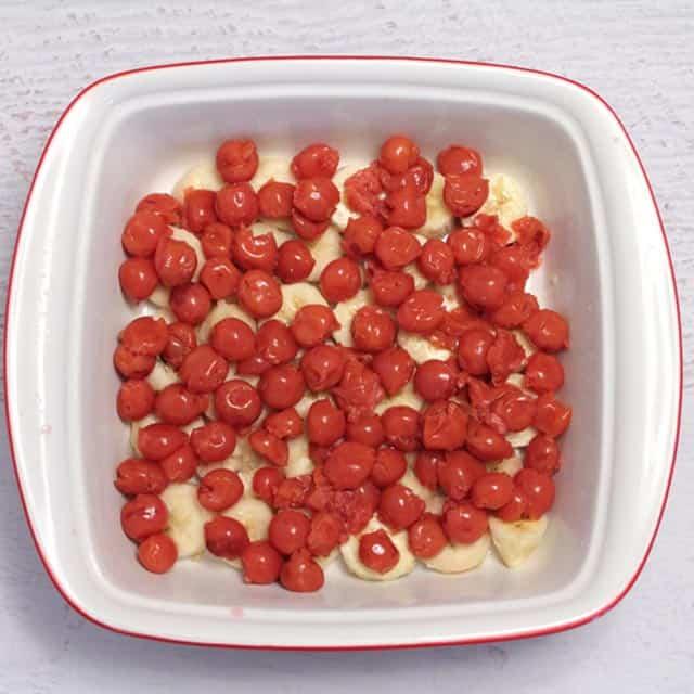 Maple Bacon Oatmeal Casserole bottom fruit layers | 2 Cookin Mamas