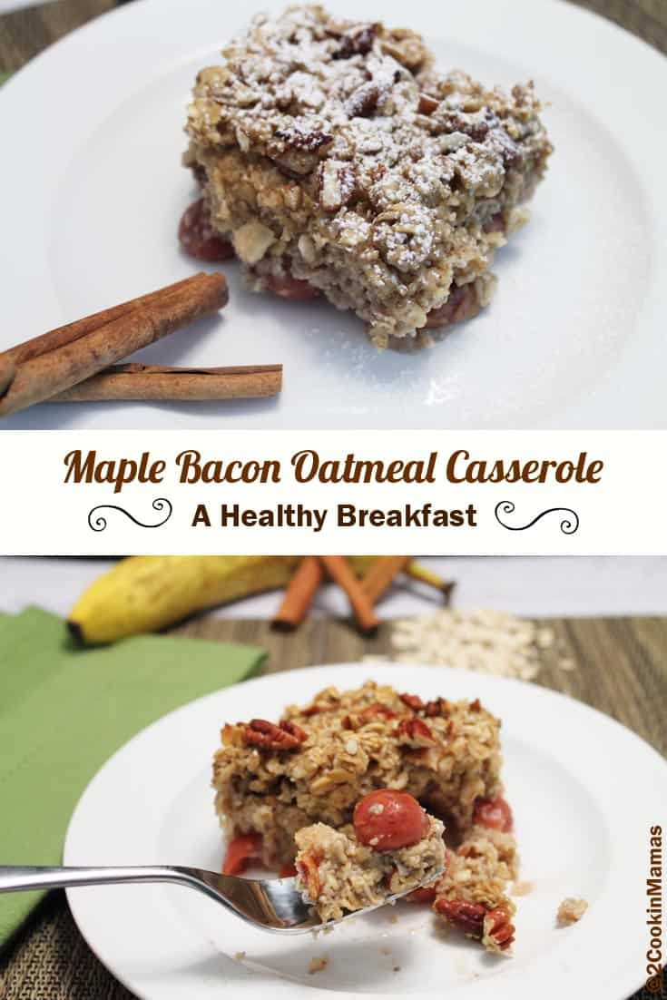 Easy & healthy oatmeal casserole for on-the-go breakfasts. Flavored with maple syrup, bacon & a layer of fruit, it's a great start to the day.